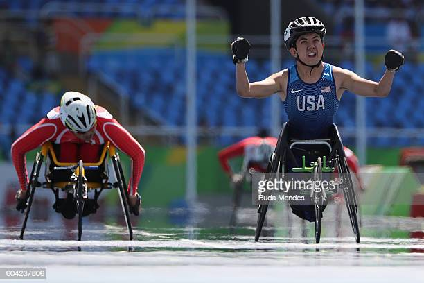 Raymond Martin of the United States wins the Men's 400 meter T52 final at Olympic Stadium during day 6 of the Rio 2016 Paralympic Games on September...