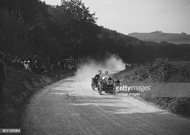 Raymond Mays' Bugatti competing in a JCC hillclimb, South Harting, Sussex, 1922. Artist: Bill Brunell.Bugatti 1496 cc. Vehicle Reg. No. CT6219. Event...