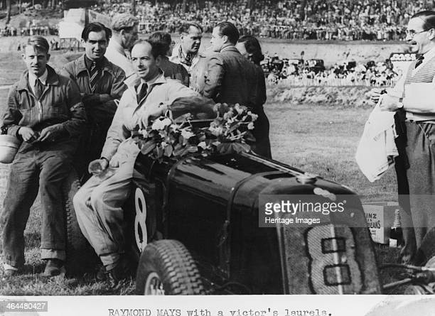 Raymond Mays with a victor's laurels 1937 This picture was probably taken either after Mays' victory in the British Empire Trophy Handicap Race at...