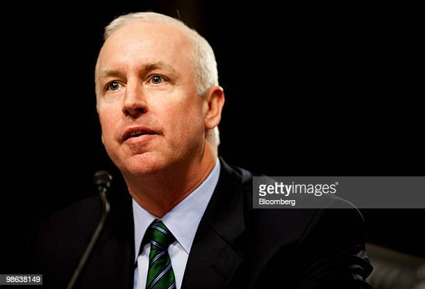 Raymond McDaniel, chairman and chief executive officer of Moody's Corp., testifies at a Senate Homeland Security and Governmental Affairs...