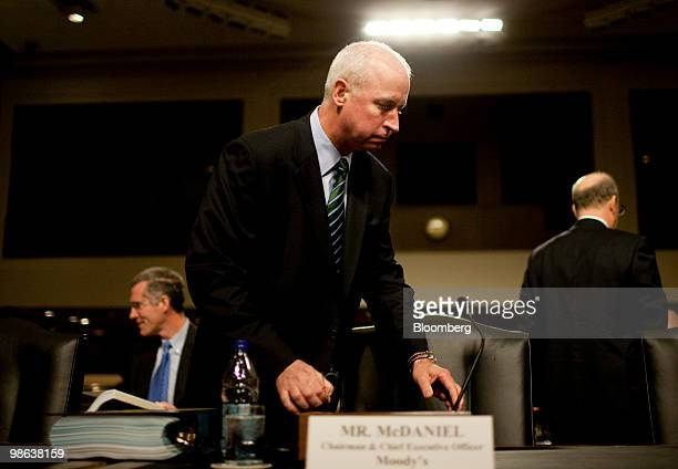 Raymond McDaniel, chairman and chief executive officer of Moody's Corp., arrives to testify at a Senate Homeland Security and Governmental Affairs...