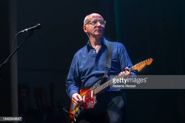 Raymond McGinley of Teenage Fanclub performs on stage at Assembly Rooms on September 14, 2021 in Edinburgh, Scotland.