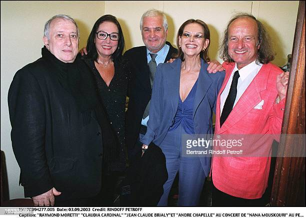 Raymond Moretti Claudia Cardinale Jean Claude BrialyEt Andre Chapelle Nana Mouskouri concert at the Petit Journal in Montparnasse to mark the launch...