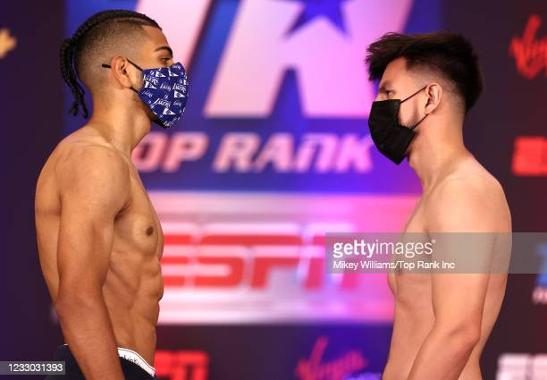 Raymond Muratalla and Jose Gallegos face-off during the weigh-in at Virgin Hotels Las Vegas on May 21, 2021 in Las Vegas, Nevada.