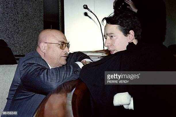 Raymond Nakachian a wealthy Lebanese businessman and husband of Korean singer Kimera talks to his lawyer Olivier Lagrave on March 17 1992 at the...