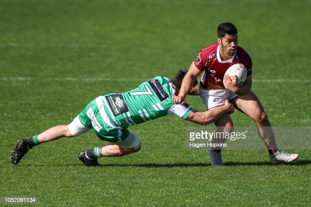 Raymond Nu'u of Southland is tackled by Antonio Kiri Kiri of Manawatu during the round nine Mitre 10 Cup match between Manawatu and Southland at...