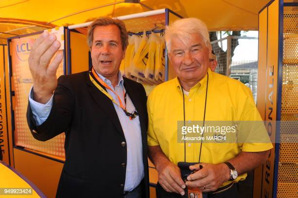 Raymond Poulidor and French former national Assembly President and Constitutionel Council President JeanLouis Debre at the media village on July 10...