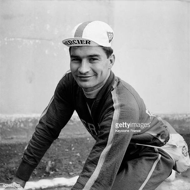 Raymond Poulidor At The Start Of Paris Tours Cycling Race in Versailles France on October 6 1963