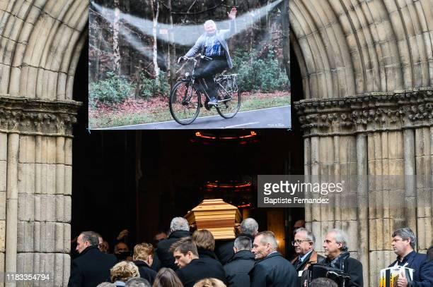 Raymond POULIDOR coffin during the Funeral of Raymond Poulidor on November 19 2019 in SaintLeonarddeNoblat France