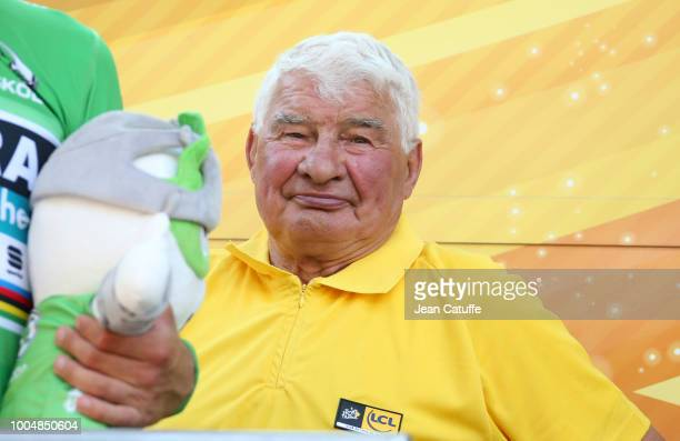 Raymond Poulidor during the podium ceremony following stage 16 of Le Tour de France 2018 between Carcassonne and BagneresdeLuchon on July 24 2018 in...