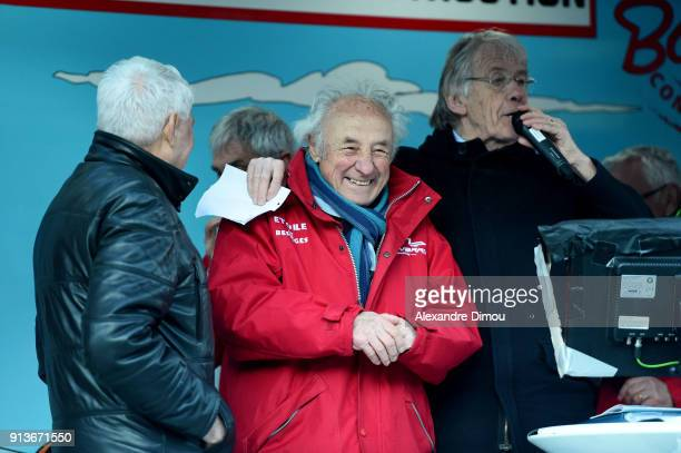 Raymond Poulidor Roland Fangille and Daniel Mangeas Speaker during Stage 3 of Etoile de Besseges from Besseges to Besseges on February 2 2018 in...
