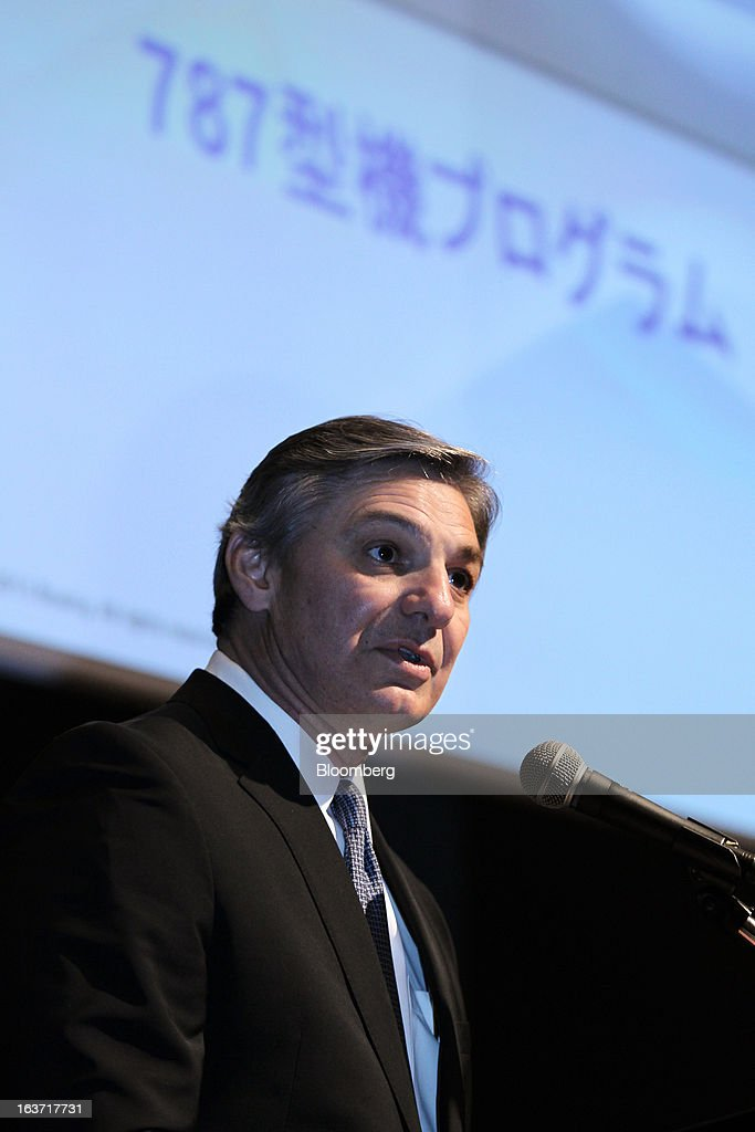 Raymond 'Ray' Conner, president and chief executive officer of Boeing Commercial Airplanes, speaks during a news conference in Tokyo, Japan, on Friday, March 15, 2013. Boeing Co. said the proposed redesign of the 787 Dreamliner's battery systems can be put in aircraft within weeks as the planemaker aims to resume services of the model that has been grounded for two months. Photographer: Koichi Kamoshida/Bloomberg via Getty Images