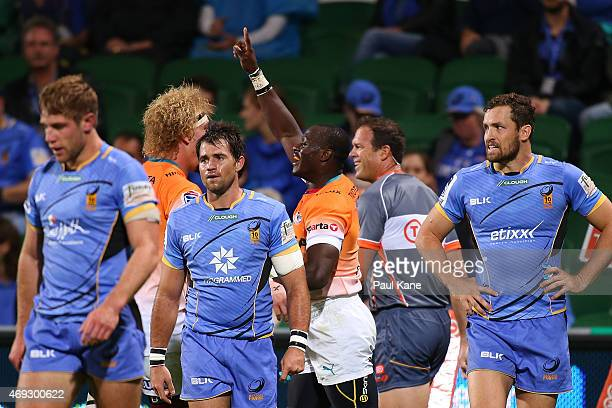 Raymond Rhule of the Cheetahs celebrates after scoring a try during the round nine Super Rugby match between the Force and the Cheetahs at nib...
