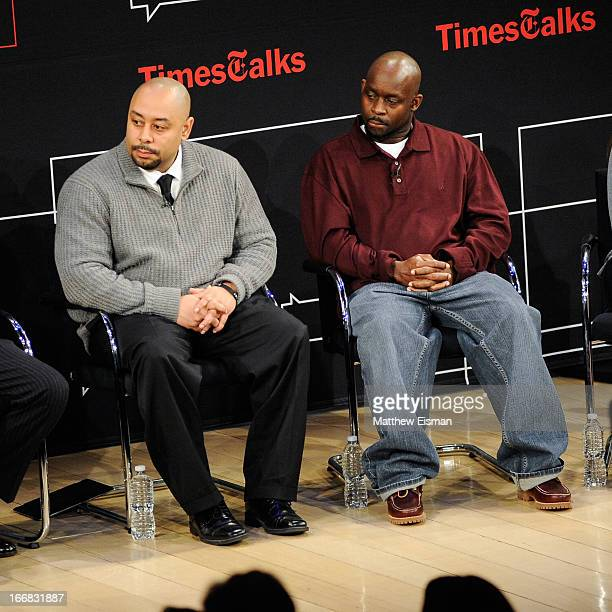 Raymond Santana and Antron McCray attend TimesTalks Presents 'Central Park 5' at The TimesCenter on April 17 2013 in New York City