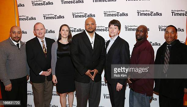 Raymond Santana Jim Dwyer Sarah Burns Kevin Richardson Ken Burns Antron McCray and Korey Wise attend TimesTalks Presents 'Central Park 5' at...