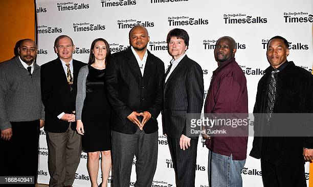 Raymond Santana Jim Dwyer Sarah Burns Kevin Richardson Ken Burns Antron McCray and Korey Wise attend the TimesTalks Presents 'Central Park 5' at...