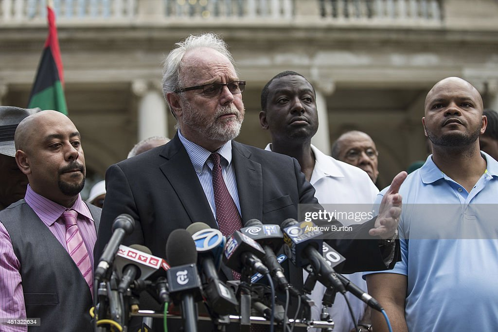 Raymond Santana, Jonathan Moore - one of the lawyers for the other three - Yusef Salaam and Kevin Richardson, three of the five men wrongfully convicted of raping a woman in Central Park in 1989, speak at a press conference on city halls' steps after it was announced that the men, known as the 'Central Park Five,' had settled with New York City for approximately $40 million dollars on June 27, 2014 in New York City. All five men spent time in jail, until their convictions were overturned in 2002 after being proven innocent.