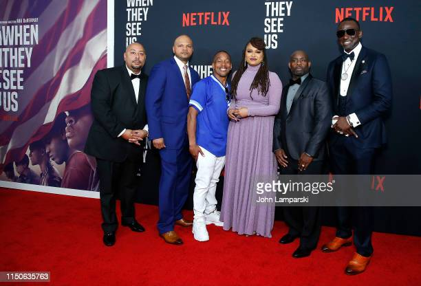 Raymond Santana Kevin Richardson Korey Wise Ava DuVernay Antron McCray and Yusef Salaam attends When They See Us World Premiere at The Apollo Theater...