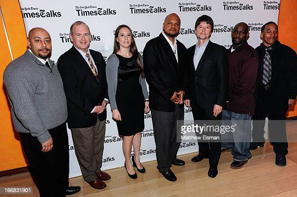 Raymond Santana New York Times columnist Jim Dwyer director/ author Sarah Burns Kevin Richardson director Ken Burns Antron McCray and Korey Wise...