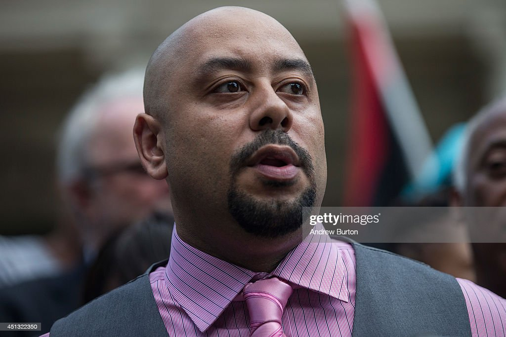 Raymond Santana, one of the five men wrongfully convicted of raping a woman in Central Park in 1989, speaks at a press conference on city halls' steps after it was announced that the men, known as the 'Central Park Five,' had settled with New York City for approximately $40 million dollars on June 27, 2014 in New York City. All five men spent time in jail, until their convictions were overturned in 2002 after being proven innocent.