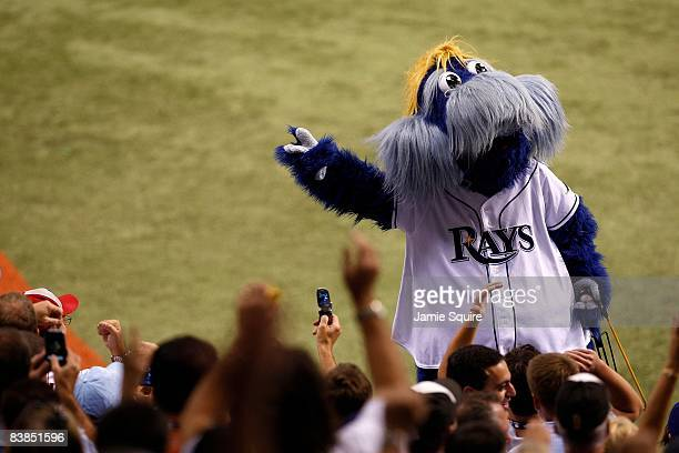 Raymond the mascot of the Tampa Bay Rays performs against the Philadelphia Phillies during game one of the 2008 MLB World Series on October 22 2008...