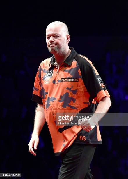 Raymond van Barneveld celebrates in his first round match against Haupai Puha during the Brisbane Darts Masters at Brisbane Convention Exhibition...