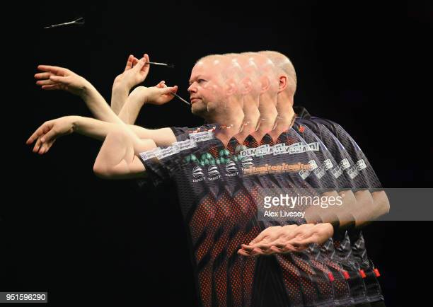 Raymond van Barneveld in action during his match against Rob Cross in the 2018 Unibet Premier League at The Manchester Arena on April 26 2018 in...