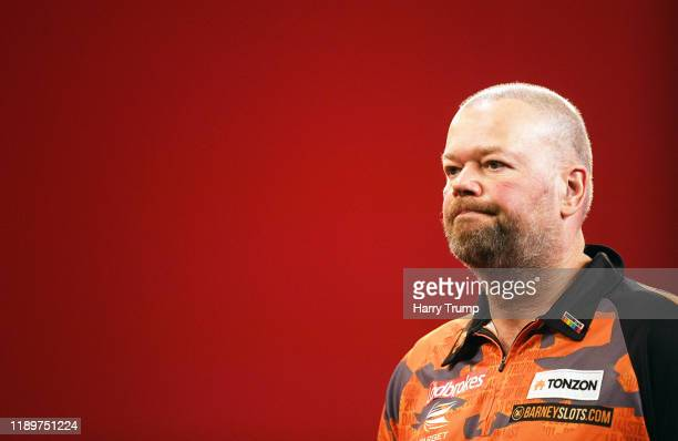Raymond Van Barneveld looks on during Day Three of the PDC Players Darts Championship at Butlins Resort on November 24 2019 in Minehead England