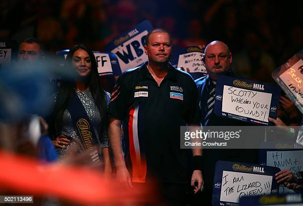 Raymond van Barneveld of Holland in action during his first round match against Dirk van Duijvenbode during the 2016 William Hill PDC World Darts...