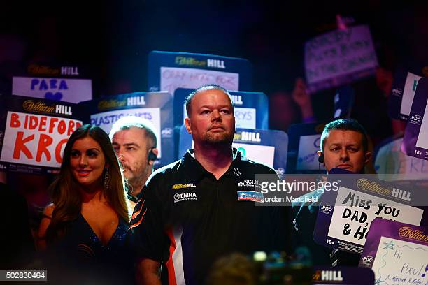 Raymond van Barneveld of Holland walks in ahead of his third round match against Michael van Gerwen of Holland on Day Eleven of the 2016 William Hill...