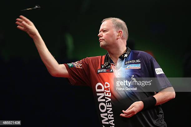 Raymond van Barneveld of the Netherlands takes a shot during the Auckland Darts Masters at The Trusts Arena on August 28 2015 in Auckland New Zealand