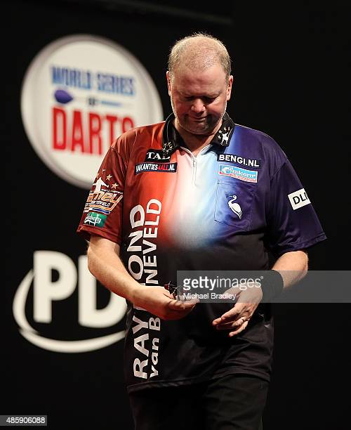 Raymond van Barneveld reacts during the Auckland Darts Masters at The Trusts Arena on August 30 2015 in Auckland New Zealand