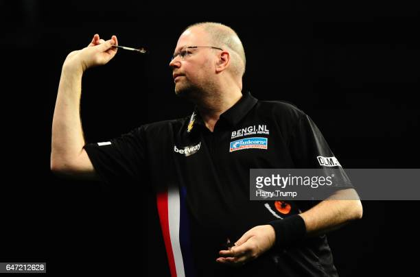 Raymond Van Barneveld throws during Night Five of the Betway Premier League Darts at Westpoint Arena on March 2 2017 in Exeter England