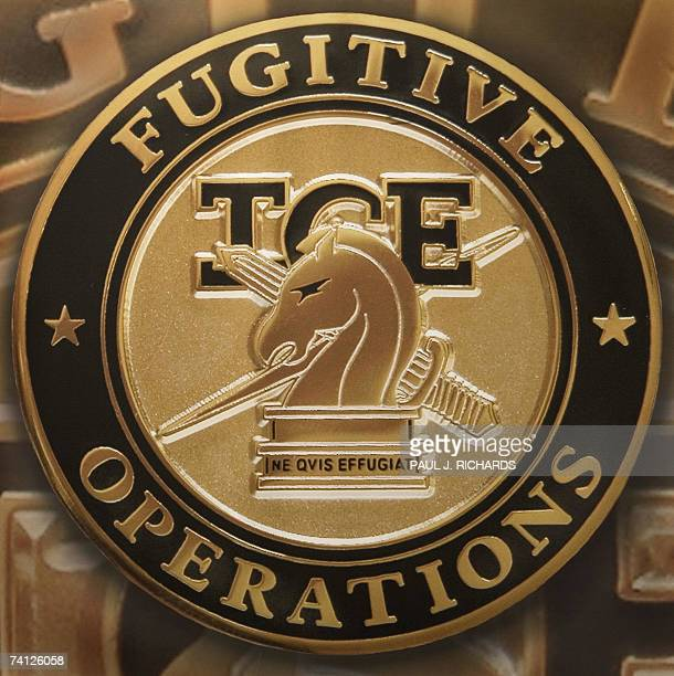 The logo of the US Homeland Security Department of Immigration and Customs Enforcement Fugitive Operations unit is seen 10 May 2007 seen at Willacy...