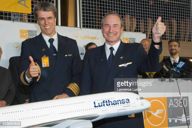 Raymund Mueller Chief Pilot Airbus Long Range Fleet and Jurgen Rapps Chief Pilot Lufthansa flew the Airbus A380 on its maiden voyage to the United...