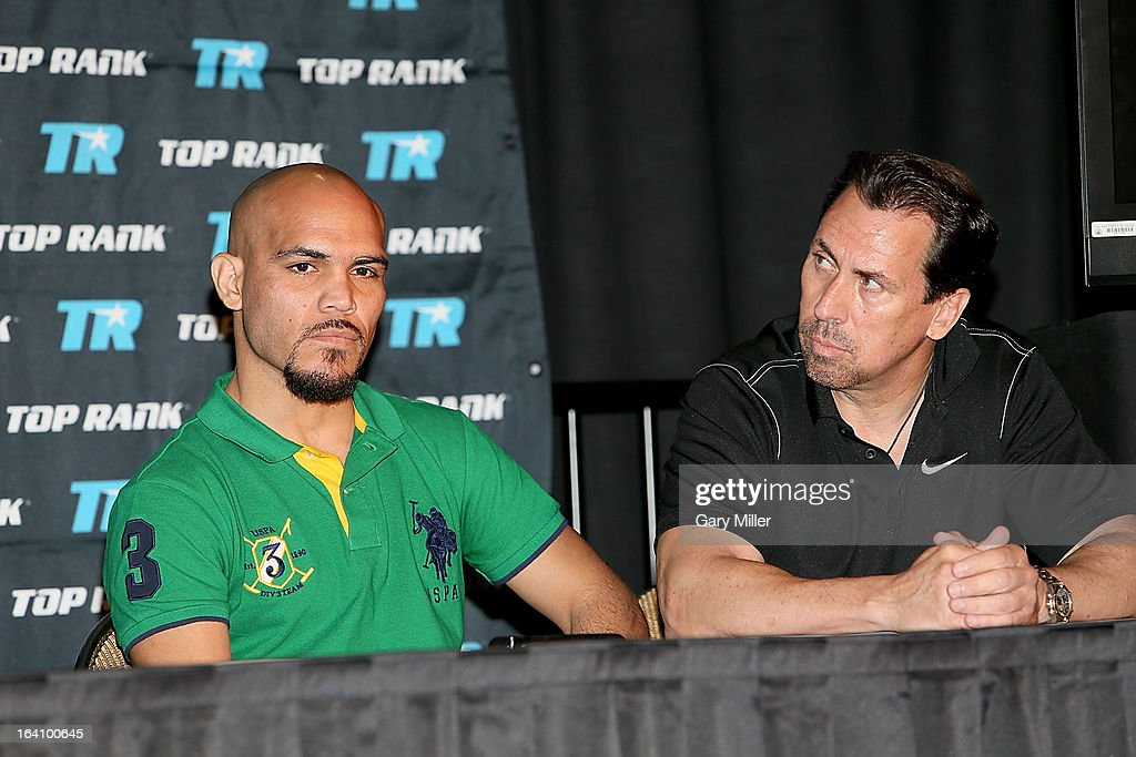 Raymundo Beltran (L) and Steven Feder attend a news conference announcing the formation of Foreman Boys Promotions at The Frank Erwin Center on March 19, 2013 in Austin, Texas.