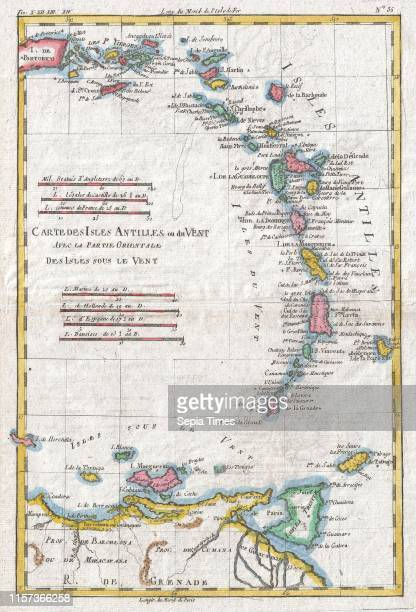 1780 Raynal and Bonne Map of Antilles Islands Rigobert Bonne 1727 Ð 1794 one of the most important cartographers of the late 18th century