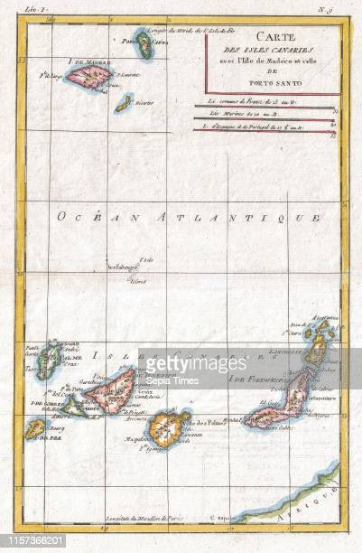 1780 Raynal and Bonne Map of Canary Islands Rigobert Bonne 1727 Ð 1794 one of the most important cartographers of the late 18th century