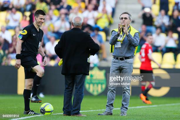 Raynald Denoueix and Jean Claude Suaudeau former legendary headcoaches of Nantes during the Ligue 1 match between Nantes and Stade Rennes at Stade de...