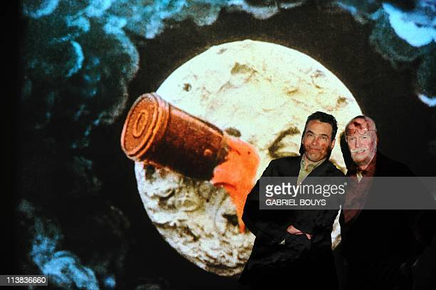 RAYNALDYSerge Bromberg CEO of Lobster Films and Tom Burton Technicolor's Executive Director of Restoration Services pose on April 21 2011 duringTom...