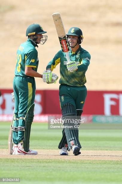 Raynard van Tonder of South Africa celebrates his half century during the ICC U19 Cricket World Cup 5th Playoff match between South Africa and...
