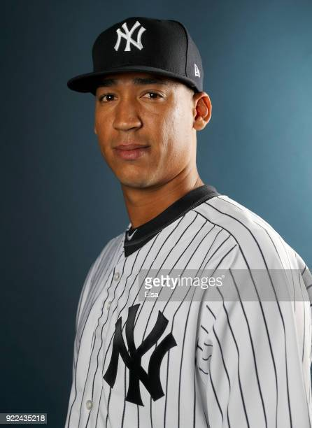 Raynel Espinal of the New York Yankees poses for a portrait during the New York Yankees photo day on February 21 2018 at George M Steinbrenner Field...