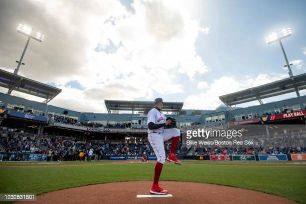 Raynel Espinal of the Worcester Red Sox throws from the mound before the inaugural game against the Syracuse Mets on May 11, 2021 in Worcester,...