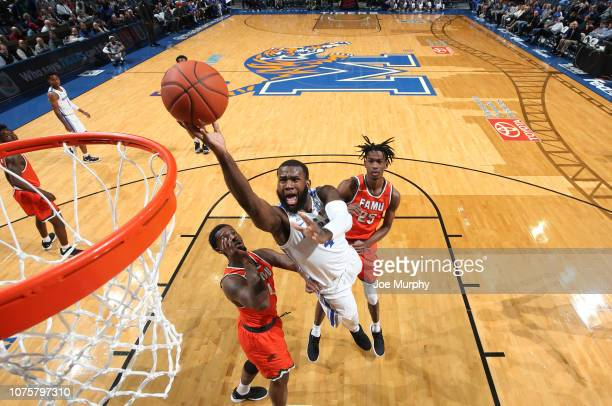Raynere Thornton of the Memphis Tigers drives to the basket for a layup against the Florida AM Rattlers on December 29 2018 at FedExForum in Memphis...