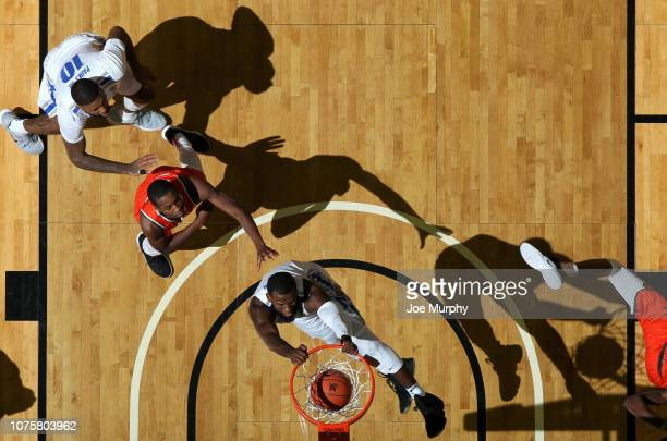 Raynere Thornton of the Memphis Tigers dunks the ball against the Florida AM Rattlers on December 29 2018 at FedExForum in Memphis Tennessee Memphis...
