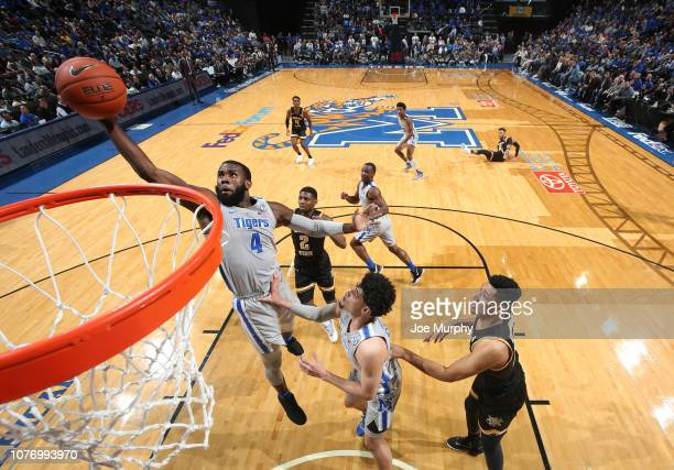 Raynere Thornton of the Memphis Tigers grabs a rebound against the Wichita State Shockers on January 3 2019 at FedExForum in Memphis Tennessee...