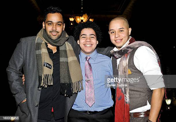 Rayniel Rufino Antonio Ortiz and John Rafael Peralta attend the 'Trouble In The Heights' New York Premiere at United Palace Theater on January 24...