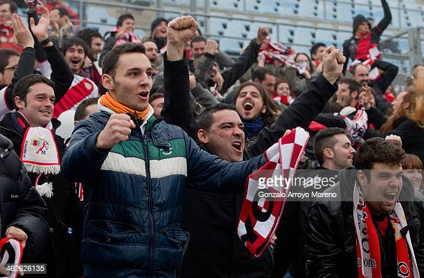 Rayo Vallecano fans celebrates their teams first goal during the La Liga match between Getafe CF and Rayo Vallecano de Madrid at Coliseum Alfonso...