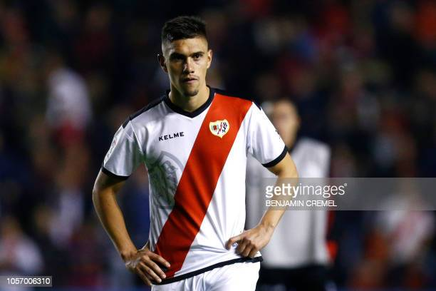 Rayo Vallecano's Uruguayan defender Emiliano Velazquez reacts at the end of the Spanish league football match between Rayo Vallecano de Madrid and FC...