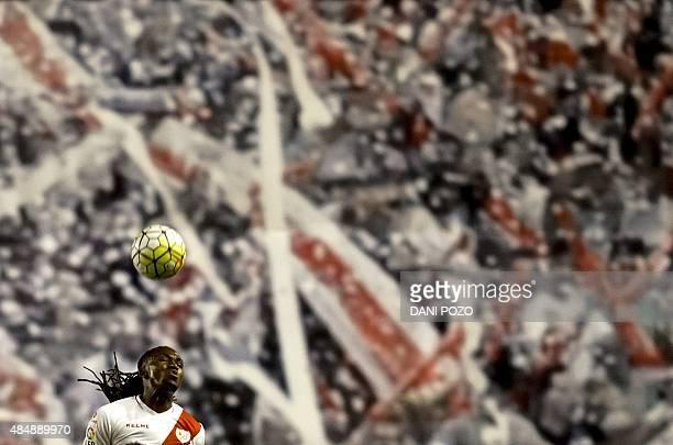 Rayo's Angolan forward Manucho heads the ball during the Spanish league football match Rayo Vallecano de Madrid vs Valencia CF at Vallecas stadium in...